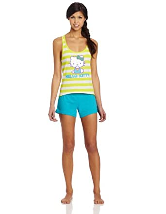 Hello Kitty Women's Stripe Short Set, Lime/White/Turquoise, Small