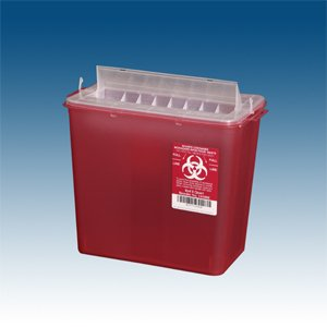 Sharps Container, 5 qt. Red Horizontal Entry, case/20 for use w/ PP-143002