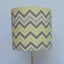 handmade lamp shade color gray and yellow chevron size 7 x 7. Black Bedroom Furniture Sets. Home Design Ideas