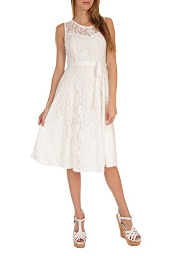 Womens Fashion Sleeveless Lace Fit Flare Sweatheart Bow Dress (Plus Size) USA WHT L