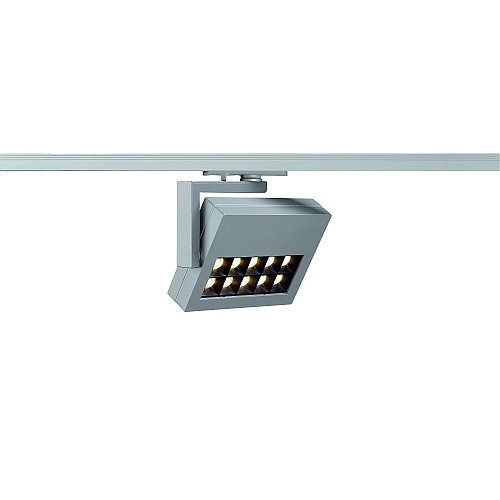 SLV 1-Phasen Strahler Profuno, 18W, Power LED, 3000K, 60 Grad, inklusiv Adapter, silbergrau 144064
