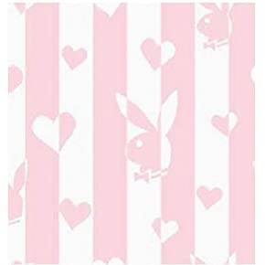 Official Playboy Glitter Heart Pink/Classic Design Fitted Valance Sheet