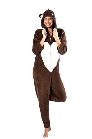octave combinaison pyjama capuche polaire coral design ours femme l 39 ourson eu 40. Black Bedroom Furniture Sets. Home Design Ideas
