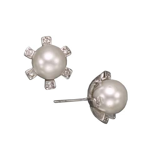 Bree's 925 Sterling Silver Stud Earrings Rhodium Plated White Pearl Bezel Set CZ Diamond Accent - Incl. ClassicDiamondHouse Free Gift Box & Cleaning Cloth