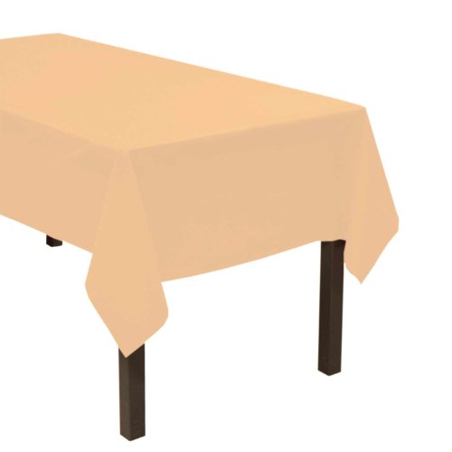 "Party Essentials Heavy Duty Plastic Table Cover, 54 x 108"", Peach"