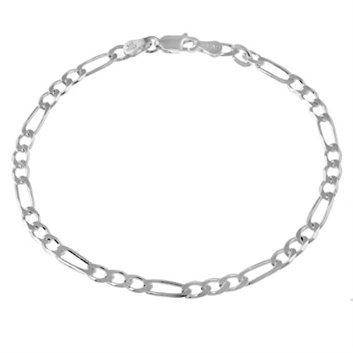 [Burts beads - Sterling Silver 4mm Italian Figaro Link Chain Bracelet YRS 0698] (Lobster Claw Costume Pattern)