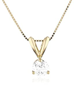 18k Yellow Gold Round-Cut Basket Setting 3-Prong Diamond Solitaire Pendant (1/4 cttw, G-H Color, SI1-SI2 Clarity), 18