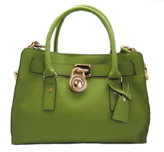 Michael Kors Hamilton Leather Satchel Bag Purse Tote Lime