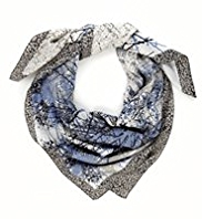 Classic Lightweight Square Abstract Print Twill Scarf