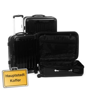 3er Kofferset Hartschale Trolleys schwarz-Hochglanz