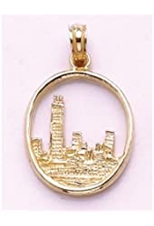 Gold Travel Charm Pendant Chicago Skyline In Circle Frame 2-D