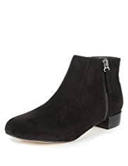 M&S Collection Faux Suede Double Zip Ankle Boots
