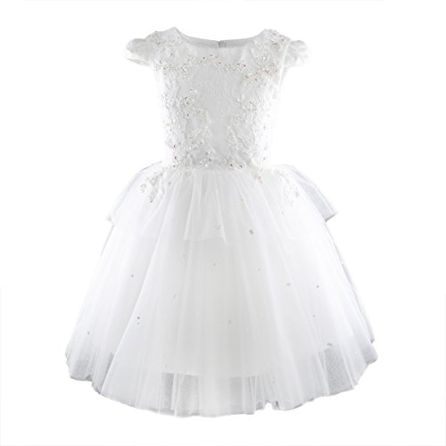 Toddler Girls Tutu Dress Handmade Bead Flower Kids Wedding Party Pageant Gown White 3T