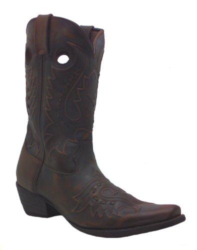 Men's 12 Inch Jack Durango Peek-a-boot Dark Brown Mid Calf Cowboy Boots