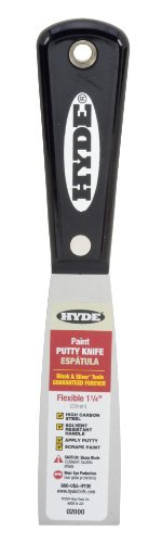 Hyde Tools 02000 1-1/4-Inch Flexible Putty Knife, Black And Silver