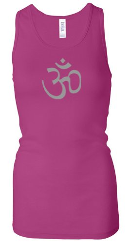 AUM Yoga Meditation Ladies Sheer Rib Longer Length Racerback Tank Top, Large, Berry (hot pink)