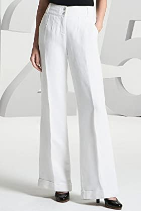 125 Years Per Una Ivory Flare Trousers - Marks & Spencer :  high waist white spencer wide leg