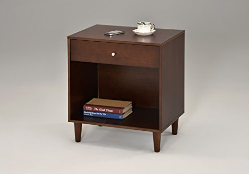 Espresso Finish Side End Table Nighstand with Drawer and Storage 24