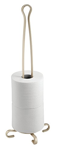 mDesign Free Standing Toilet Paper Holder for Bathroom - Pearl Champagne