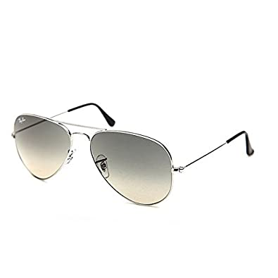 Ray-Ban RB3025 Aviator Large Metal Sunglasses,Silver Frame/Crystal Gray Gradient Lens,55mm