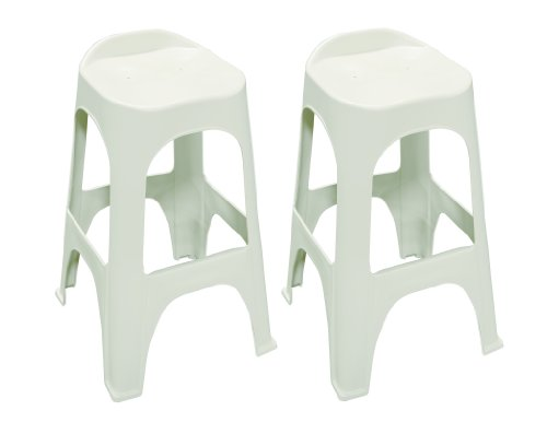 Adams 8350-48-3702 Real Comfort 2-Pack Bar Stool, 30-Inch, White