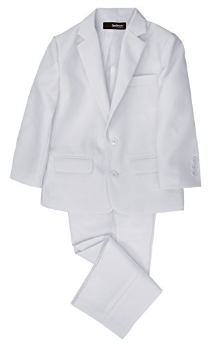 G218 Boys 2 Piece Suit Set Toddler To Teen (3/3T, White) front-563894