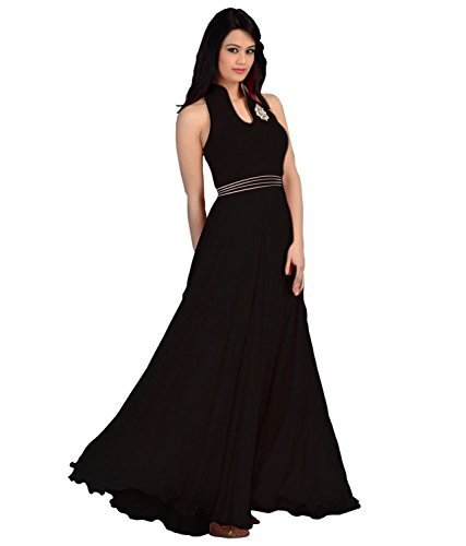 Clickedia Women's Faux Georgette Princess Cut Dress Material (Black_Free Size)