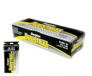 Industrial Alkaline Batteries, 9V, 12/Pack
