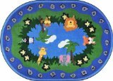 "Joy Carpets Kid Essentials Infants & Toddlers Oval Jungle Peeps Rug, Multicolored, 10'9"" x 13'2"""