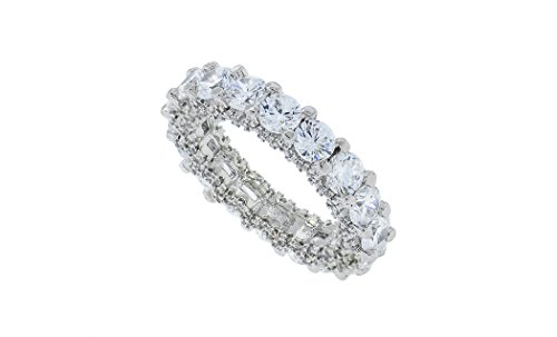 Womens 4mm Round Pave Cubic Zirconia Eternity Wedding Band Sizes 5-9 (6) (Platinum Engraved Wedding Band compare prices)