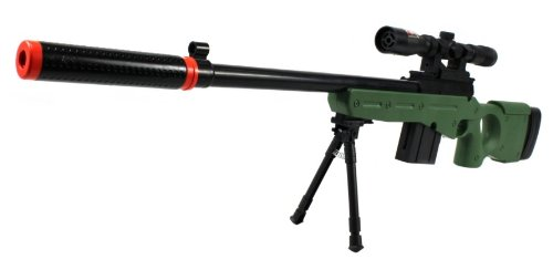 Velocity Airsoft L96-GS Spring Airsoft Gun FPS-250 w/ Folding Bi-Pod, Mock Silencer, Aiming Scope (OD Green)