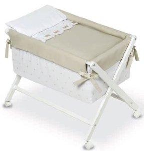 Bimbi Class–Minicuna, 68x 90x 71cm, colore: bianco e lino