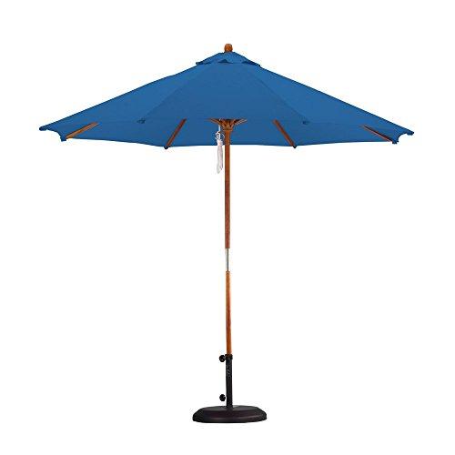 California Umbrella 9' Round Hardwood Frame Market Umbrella, Pulley Lift, Polyester Antique Beige