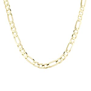 Men's 14k Yellow Gold 6.7mm Figaro Chain Necklace, 20