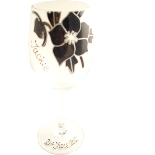 PERSONALISED Black Rose Wine Glass MAXIMUM 25 CHARACTERS