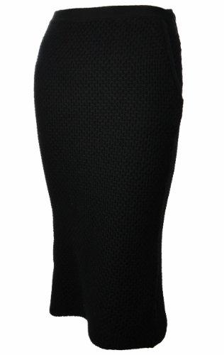 Sutton Studio Women's Knee Length Waffle Skirt Black (Medium) [Apparel] Image
