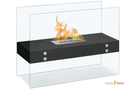 Moda Flame Avila Contemporary Ethanol Fireplace In Black