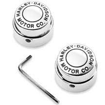 Front Axle Nut Cover Kit, H-D? Motor Co. Logo, 44148-07A. Die-Cast chrome-plated covers feature the Harley-Davidson Motor Co. Logo.