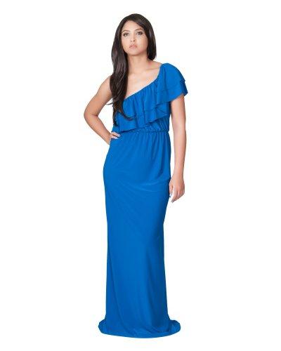 Koh Koh Women's One Shoulder Long layered Cocktail Evening Elegant Maxi Dress – Medium – Cobalt Blue
