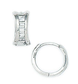 14ct White Gold CZ Medium Round Hinged Earrings - Measures 11x12mm
