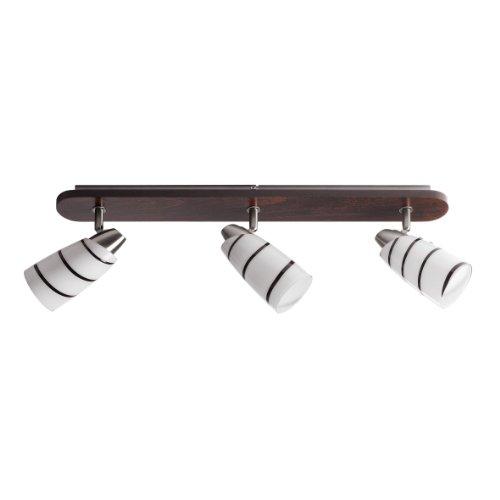 -Plafonnier-Applique-Lustre-Contemporain-Rail-Droite-3-Spot-Bois-Fonc-Nickel-Chrome-Satine-Verre-Blanc-Opale-aux-tourbillons-de-chocolat-Rglable-11-Watt-e14-Fluocompacte-ampoules-INCLUS
