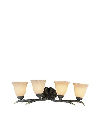 Bel Air Lighting Faux Deer Antler 4-Light Wall Bar, Rubbed Oil Bronze