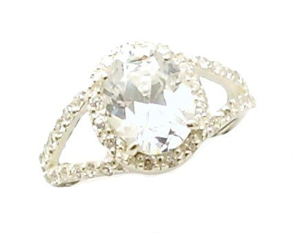 Ladies Heavyweight Sterling Silver Oval Split Shoulder CZ Cluster Engagement Ring