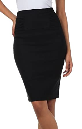 Petite High Waist Stretch Pencil Skirt with Shirred Waist Detail small Black