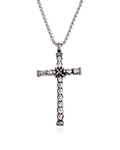 1913 Stainless Steel Textured Cross Necklace