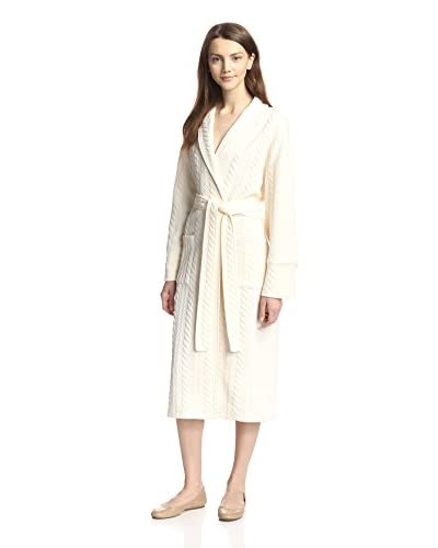 Aegean Apparel Women's Long Shawl Collar Cable Knit Matelasse Robe