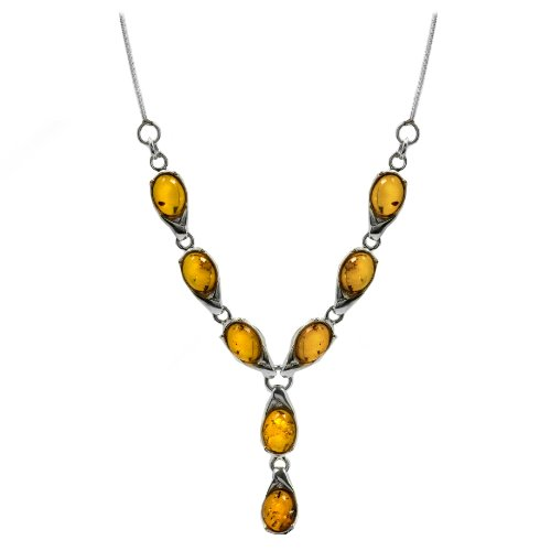 Sterling Silver Honey Amber Oval Necklace