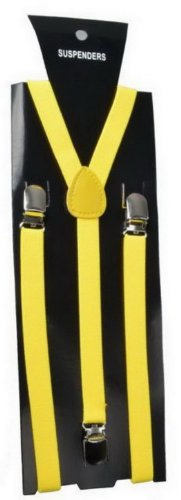 JTC Adjustable Braces Suspender Disco Dance Costume 3clips-on Y-shape Yellow
