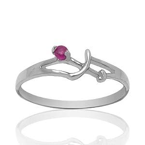 100% Genuine Nature Ruby 925 Sterling Silver Platinum Plating Horoscope Sagittarius Ring-SizeT