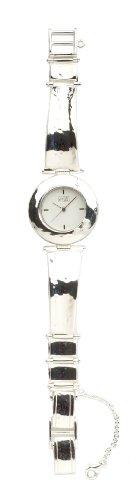 Eton Round Hammer Finish Sterling Silver Watch with Opals - 2561L - Hallmarked